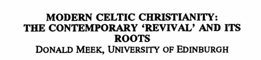 Modern Celtic Christianity