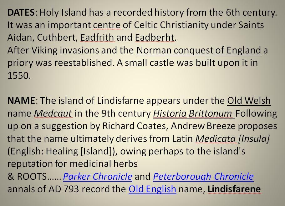Info on Holy Island i