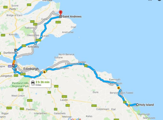 Map Holy Island to St Andrew's